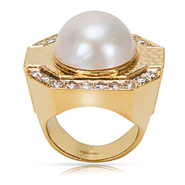 18KT Yellow Gold Diamond & Pearl Ring in 18KT Gold 0.20ctw