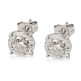 Diamond Stud Earrings in 14K White Gold 0.60 CTW