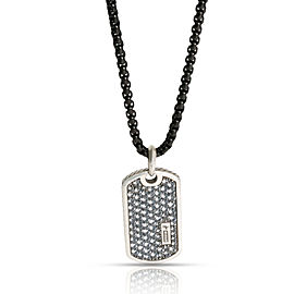 David Yurman Pave Dogtag Necklace with Gray Sapphires