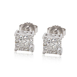 Princess Cut Diamond Stud Earring in 14K White Gold 1 CTW