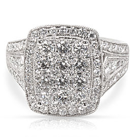 Cluster Diamond Cocktail Ring in 14Kt White Gold 1.50 CTW