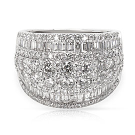 Round & Baguette Diamond Cocktail Ring in 14KT White Gold 3.00 ctw