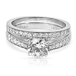 Simon G Diamond Engagement Wedding Set in 18K White Gold