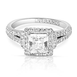 Verragio Diamond Halo Princess Engagement Ring Setting in 14K White Gold 0.50CTW