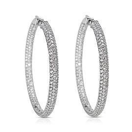 Pave Diamond Hoop Earrings in 14K White Gold (6.68 CTW)