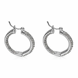 Pave Diamond Hoop Earrings in 18KT White Gold 1.00 ctw