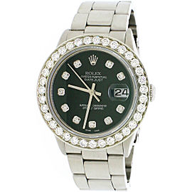 Rolex Datejust Steel 36mm Oyster Watch 3.5ct Diamond Bezel
