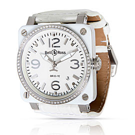 Bell & Ross White Ceramic Diamonds BR 03-92 Unisex Watch in Stainless Steel/Cer