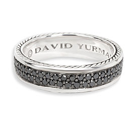 David Yurman Streamline Black Diamond Men's Ring in Sterling Silver 1.3 CTW