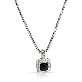 David Yurman Petite Albion Diamond & Onyx Pendant in Sterling Silver 0.17 CTW