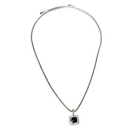 David Yurman Petite Albion Diamond & Onyx Pendant in Sterling Silver 0.17 CTW