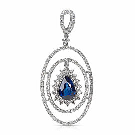 Diamond & Sapphire Fashion Pendant in 18k White Gold (1.01 CTW)