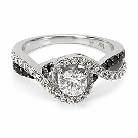 Black & White Diamond Engagement Ring in 14KT White Gold 0.75 ctw