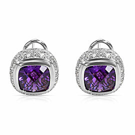 BRAND NEW Amethyst & Diamond Earrings in 18K White Gold (1.25 CTW)