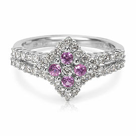 Diamond & Pink Sapphire Gemstone Ring in 18KT White Gold (0.75 CTW)