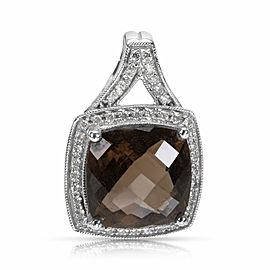 Smoky Quartz & Diamond Fashion Pendant in 18k White Gold (0.12 CTW)