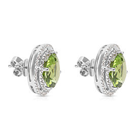 BRAND NEW Peridot Double Diamond Halo Earrings in 18K White Gold (6.25 CTW)