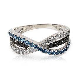Black & White Diamond with Blue Topaz Ring in 14KT White Gold