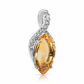 Citrine Marquise Pendant in 14k White Gold with Diamonds (0.15 CTW)