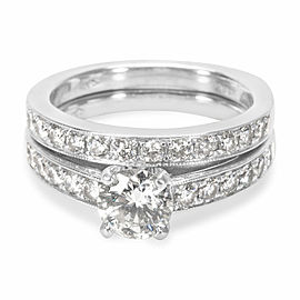 Diamond Engagement Wedding Set in 18k White Gold (1.50 CTW)