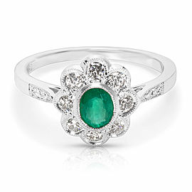 Emerald & Diamond Vintage Ring in 18K White Gold (0.28 CTW)