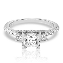 Verragio Three Stone Princess Diamond Engagement Ring Setting in 18K White Gold