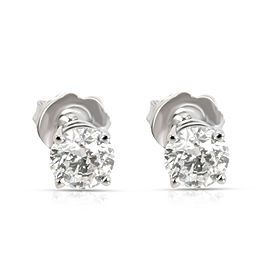 GIA Certified Diamond Stud Earring in 14KT White Gold E-I1(1.01 CTW)