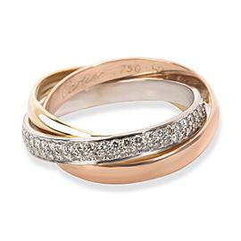 Cartier Diamond Trinity Ring in 18K 3 Tone Gold (Size 52)