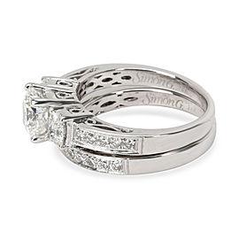 Simon G Diamond Diamond Wedding Set in 18K White Gold G SI1 1.87 CTW