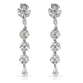David Webb Marquise, Pear & Round Diamond Drop Earrings in Platinum (4.64 CTW)