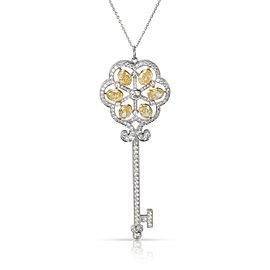 Tiffany & Co. Custom Made Fancy Yellow Diamond Key Pendant in 18KT Gold 4.14 CTW