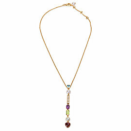 Bulgari Allegra Drop Necklace with Diamonds & Multi Colored Gemstones 0.35ctw