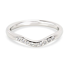 Tiffany & Co. Elsa Peretti Curved Diamond Wedding Band in Platinum 0.06 CTW