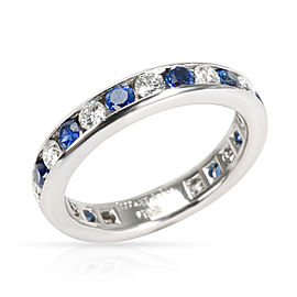 Tiffany & Co. Channel Set Diamond & Sapphire Band in Platinum 0.6 CTW