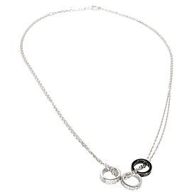 Cartier Diamond & Ceramic Love Necklace in 18K White Gold 0.05 CTW