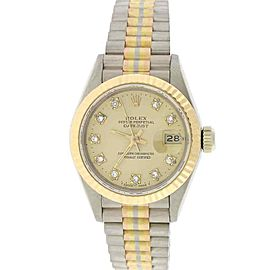 Rolex Tridor Datejust Factory Champagne Diamond Dial 26mm President Watch 69179B