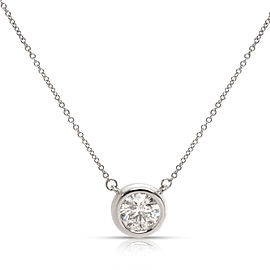 Bezel Set Solitaire Diamond Pendant in 14K White Gold (G-H I1) 1.01CT