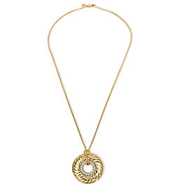 David Yurman Doughnut Diamond Cable Pendant in 18K Yellow Gold 0.51 CTW
