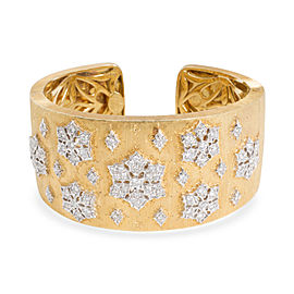 H Gold Hinged Bangle with Diamond Snowflake Design in18K Yellow Gold 1.5 CTW