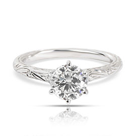 GIA Certified Diamond Engagement Ring in 14K White Gold E SI1 1.01 CTW
