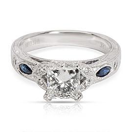 Kirk Kara Diamond & Sapphire Engagement Ring in 18K White Gold G VS1 1.16 CTW