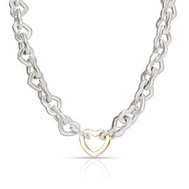 Tiffany & Co. Open Hearts Link Necklace in 18K Yellow Gold/Sterling Silver