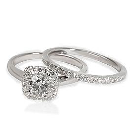 Halo Round Cut Diamond Wedding Set in Platinum 1/2ct I VS2 Round (0.8 CTW)