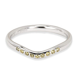 Tiffany & Co. Elsa Peretti Curved Yellow Diamond Band in Platinum 0.08 ctw