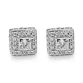 Princess Cut Diamond Earrings in 14k White Gold (0.86 CTW)
