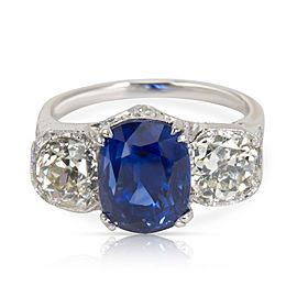 IGI Certified Vintage # Stone DIamond & Sapphire Engagement Ring 8.57 CTW