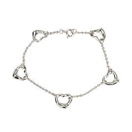 Tiffany & Co. Elsa Peretti 5 Station Open Heart Bracelet in Sterling Silver