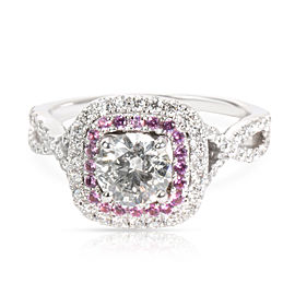 IGI Certified Pink Sapphire Halo Diamond Engagement Ring 14K Gold I I1 1.10CTW