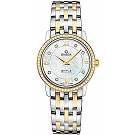 OMEGA Women's Yellow Gold Bracelet & Case Swiss Quartz MOP Dial Analog Watch 424
