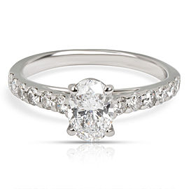 GIA Certified Oval Diamond Engagement Ring in Platinum D VS2 0.93 CTW